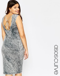 Asos Curve Bodycon Dress In Acid Wash With Ring Back Detail Greyacidwash