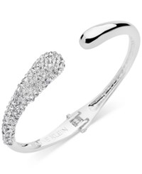 Anne Klein Pave Hinged Cuff Bracelet Only At Macy's Silver