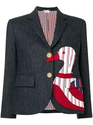 Thom Browne Navy Frayed Duck Classic Sport Coat Blue