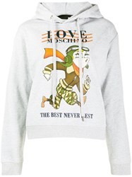 Love Moschino Logo Graphic Print Hoodie Grey