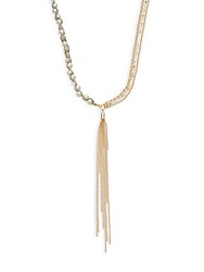 Sequin Faux Pearl And Chain Tassel Necklace Gold