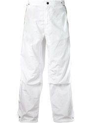 Mhi Maharishi Wide Leg Cargo Trousers White