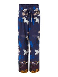 Biba Crane Print Wide Leg Trouser Multi Coloured Multi Coloured