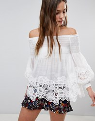 Parisian Off Shoulder Shirred Detail Top With Crochet Hem White