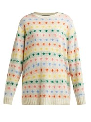 The Elder Statesman Fireside Cashmere Sweater White Multi
