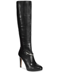Nine West Pearson Wide Calf Tall Dress Boots Women's Shoes Black Leather