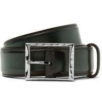 Berluti 3.5Cm Green Classic Polished Leather Belt Green