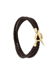 Shaun Leane Quill Wrap Bracelet Leather Gold Plated Sterling Silver Brown