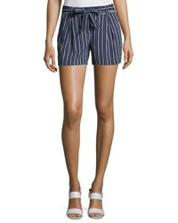 Laundry By Shelli Segal Tie Waist Striped Woven Shorts Navy