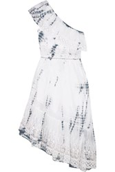 Loveshackfancy Pamela One Shoulder Tie Dyed Cotton Gauze Dress White