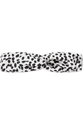Slip Twist Leopard Print Silk Headband Black