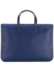 Loewe Briefcase Tote Women Cotton Calf Leather Polyester One Size Blue