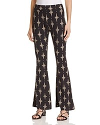Vintage Havana Diamond Print Bell Bottom Pants Black