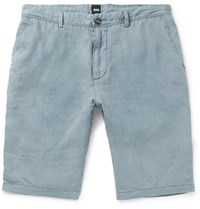 Hugo Boss Rigan Garment Dyed Linen Shorts Blue