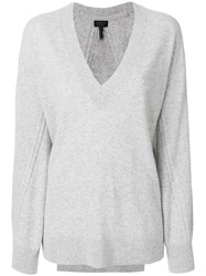 Rag And Bone V Neck Ribbed Sweater Cashmere S Grey