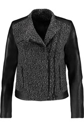 Karl Lagerfeld Evy Faux Leather Paneled Boucle Jacket