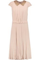 Tory Burch Liv Embellished Silk Georgette Dress Pink