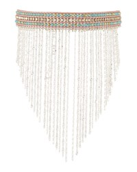 Nakamol Beaded Choker W Chain Fringe Blue