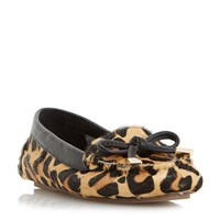 Dune Genovia Unlined Soft Moccasin Loafers Leopard