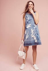 Holding Horses Denim Leaves Shift Dress Blue