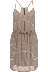 W118 By Walter Baker Destiny Bead Embellished Chiffon Mini Dress Taupe