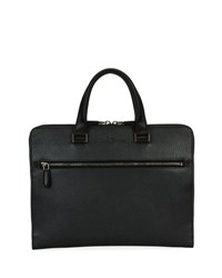 Salvatore Ferragamo Revival Slim Leather Briefcase Gray