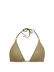 Heidi Klein Venice Pintuck Pleated Padded Triangle Bikini Top Khaki