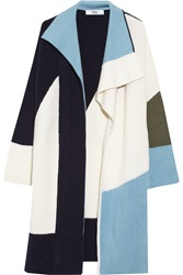 Prabal Gurung Color Block Chunky Knit Wool Coat Blue