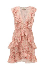 Adriana Degreas Aloe Print Ruffled Crepe Dress Pink Print