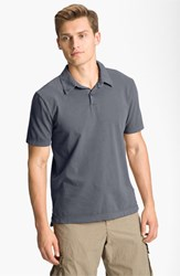 James Perse Men's Trim Fit Sueded Jersey Polo North Pigment Grey