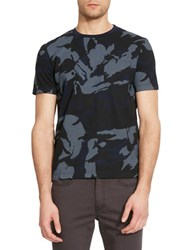 Kenneth Cole Camo Printed Crewneck T Shirt Blue Moon