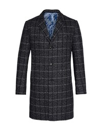 Ted Baker Men's Ando Checked Wool Overcoat Charcoal