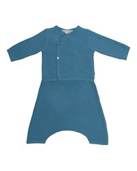 Bonpoint Long Sleeve Cotton Pajama Set Size 12 Months Blue Gray
