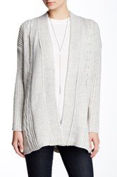 Olive And Oak Open Cable Knit Cardigan Gray