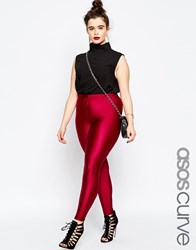 Asos Curve Legging With High Waist In Shimmer Disco Oxblood