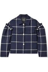 Mother Of Pearl Bennett Oversized Cropped Embellished Checked Wool Twill Jacket Midnight Blue