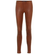 Polo Ralph Lauren Leather Leggings Brown