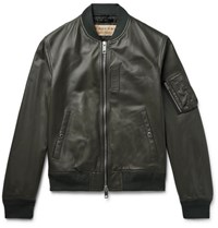 Burberry Leather Bomber Jacket Army Green