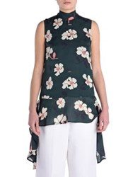 Marni Floral Silk Tunic Forest Green
