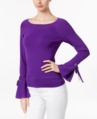Inc International Concepts Petite Bell Sleeve Sweater Only At Macy's Vivid Purple