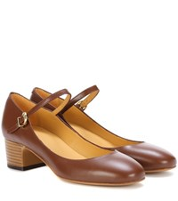 A.P.C. Victoria Leather Mary Jane Pumps Brown