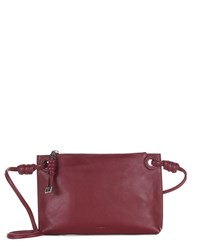 Jaeger Leather Knot Cross Body Bag Red