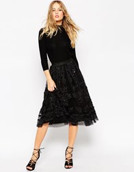 Needle And Thread Embellished Tulle Lace Midi Skirt Blackrainbow