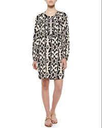 T Bags Tribal Print Shift Shirtdress Black White