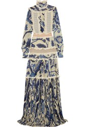 Just Cavalli Ruffled Printed Chiffon Gown Blue