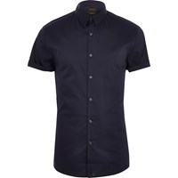 River Island Mens Navy Blue Muscle Fit Short Sleeve Shirt