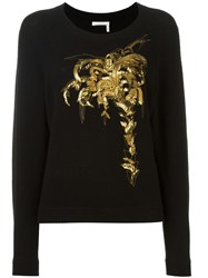 Chloe Sequin Embroidered Jumper Black