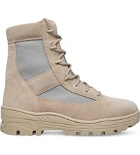 Yeezy Combat Suede And Nylon Canvas Boots Beige