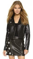 Versus Moto Jacket With Leather Trim Black