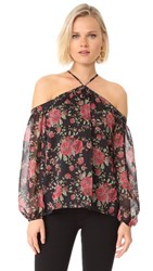 Wayf Liberty Cold Shoulder Top Black Floral